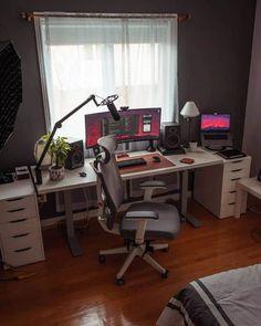 The Top 37 Computer Room Ideas Office Desk Set, Computer Desk Setup, Gaming Room Setup, Home Office Setup, Home Office Design, House Design, Best Pc Setup, Home Recording Studio Setup, Bedroom Setup