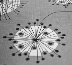 MissPrint Dandelion Mobile (fabric, wallpaper) in french grey with white