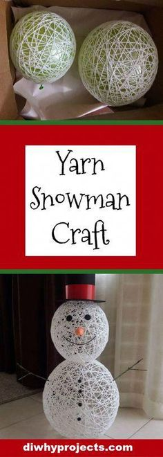 DIY Yarn Snowman Craft Tutorial, Snowman craft kids, Winter craft, Christmas craft by regina Snowman Crafts, Christmas Projects, Simple Christmas, Holiday Crafts, Fun Crafts, Christmas Holidays, Christmas Decorations, Christmas Ornaments, Christmas Snowman