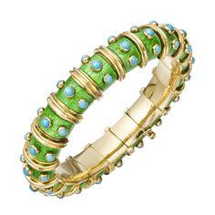 Estate Tiffany & Co. Schlumberger Green Enamel & Turquoise Bangle