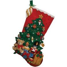 @Overstock - BUCILLA-Felt Stocking Kit. Festive designs; quality materials; and generous embellishments continue to make Bucilla felt stockings a favorite. Kit contains stamped felts; cotton floss; metallic thread; sequins and beads; needles; instructions.http://www.overstock.com/Crafts-Sewing/Under-The-Tree-Stocking-Felt-Applique-Kit-18-Long/6793174/product.html?CID=214117 $19.99