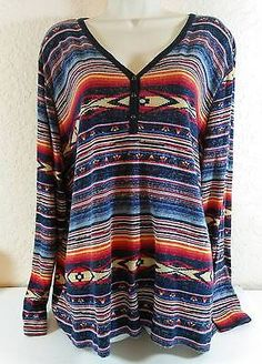 Ralph Lauren Chaps Plus Size 3X Long Sleeve Southwest Blouse B236