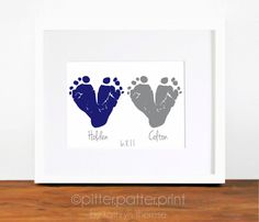 Twin Gift  Baby Footprint Navy Gray  Gift for by PitterPatterPrint, $35.00