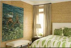 james radin interior design bedroom raffia wallpaper white upholstered headboard palm leaf print duvet coverlet bed cover uphostered bench faux bamboo legs crystal lamp