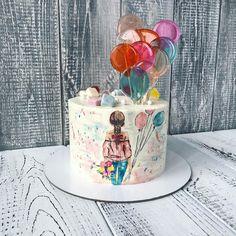 New birthday party decorations kids cake toppers ideas 14th Birthday Cakes, Cool Birthday Cakes, Birthday Cake Girls, Birthday Kids, Pretty Cakes, Cute Cakes, Cupcake Original, Sparkle Cake, Hand Painted Cakes