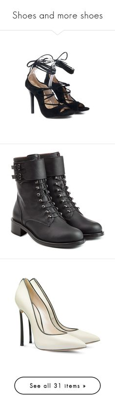 """""""Shoes and more shoes"""" by armsdani ❤ liked on Polyvore featuring shoes, sandals, boots, black, botas, shoes - boots, black boots, leather moto boots, leather lace up boots and leather biker boots"""