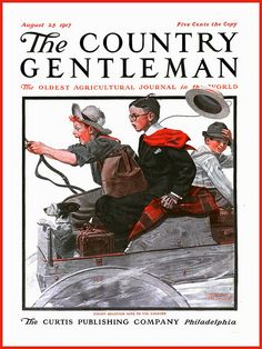 "The Country Gentleman -  Aug 25 1917  ""Cousin Reginald goes to the country"" Cover Illustration     by  Norman Rockwell"