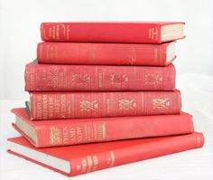Vintage Six Red Book - Shabby Chic Collection - Interior Design - Holiday Gift - Vintage Book Decor. $25.00, via Etsy.