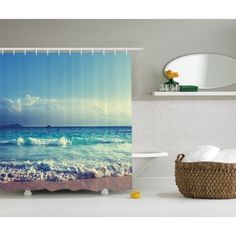 Tropical Island Decor Ocean Waves Beach in Sunset Time Extra Long Shower Curtain