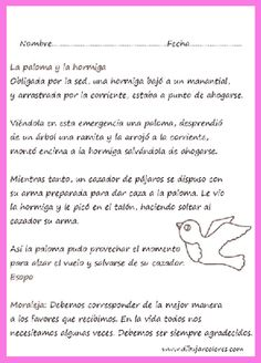 Lectura para imprimir de la fábula la paloma y la hormiga. comprensión lectora con ficha para resumen