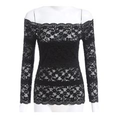 SheIn(sheinside) Black Boat Neck Sheer Lace Slim Top ($13) ❤ liked on Polyvore featuring tops, black, collar top, long sleeve sheer lace top, sheer top, slimming tops and bateau neck tops