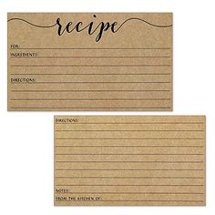Recipe Cards - Size 3x5 - Small Kraft Brown Lined Kitchen... https://www.amazon.com/dp/B071FLNX9G/ref=cm_sw_r_pi_dp_x_wuenzb20K6M1A
