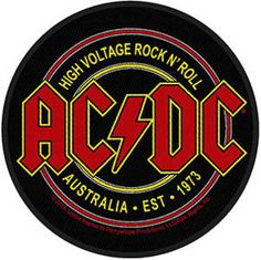 AC/DC high voltage circular Back Patch XLG free worldwide shipping Rock Band Posters, Rock Poster, Rockband Logos, Logo Banda, Rock Logos, Rock And Roll, Pochette Cd, Band Stickers, Guitar Stickers