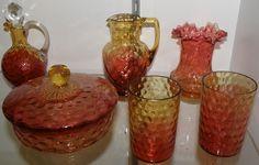 Reverse Amberina glassware from Mt. Washington  Glass Company, Ca. 1850