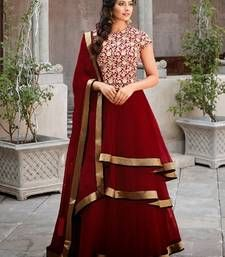 Buy Maroon georgette embroidered semi stitiched salwar wedding-salwar-kameez online