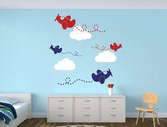Items similar to Airplane Decal Clouds Decal Airplanes with Clouds Airplane Wall Decal Cloud Wall Decal - Nursery Decor Wall Decal on Etsy Name Wall Decals, Nursery Wall Decals, Nursery Decor, Wall Decor, Boy Room, Kids Room, Airplane Nursery, Laundry Decor, Childrens Room Decor