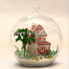 DIY Glass Ball Doll House with lights Model Building Kits Wooden Mini Handmade Miniature Dollhouse Toy Birthday Gift-in Doll Houses from Toys & Hobbies on Aliexpress.com | Alibaba Group