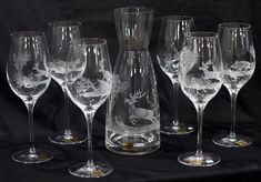"""Weinset mit Gravur """"Jagdmotive"""" - Glas Schwarz Flute, Champagne, Tableware, Drinking Glass, Flower Of Life, Stained Glass, Carafe, Hunting, Gift"""
