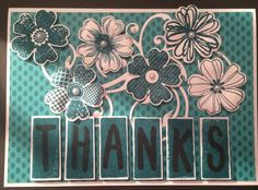 This is a card I made using the Stampin Up Flower Shop stamp and punch set!! And also the layered letters alphabet set, along with some bohemian paper and the island indigo ink pad!