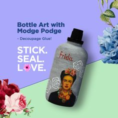 Here is our tribute to Frida, the pride of Mexico and the darling of the world. Made using Fevicryl Modge Podge and Fevciryl Acrylic Colours this decoupage bottle is sure to be a focal point of any décor. Decoupage Glue, Decoupage Tutorial, Recycled Glass Bottles, Art Watch, Ways To Recycle, Bottle Art, Acrylic Colors, Jars, Recycling