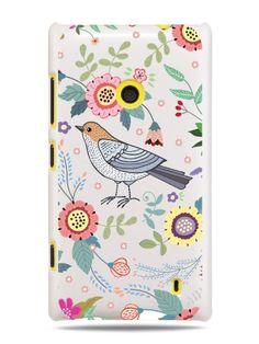 GRÜV Premium Case 'Floral Medley with Birds' Design for Nokia Lumia 520 (Best Quality Designer Print on White hard cover): Amazon.co.uk: Ele...