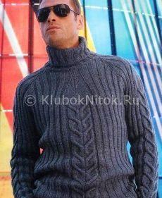 Темно-серый свитер регланом | Вязание мужское | Вязание спицами и крючком. Схемы вязания.