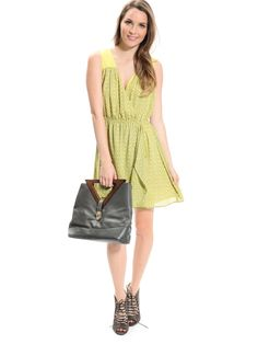 Yellow Surplice Neck Abstract Dress | $10 | Cheap Trendy Casual Dresses Chic Discount Fashion for Wo