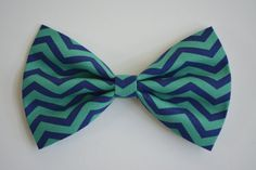 Hair Bow Cobalt Blue and green chevron Hair by ClipaBowBoutique