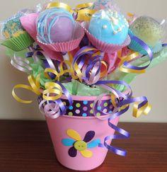 Girlie Girl Cake Pop Bouquet. Cute idea for Bridal Shower centerpieces...wedding colors
