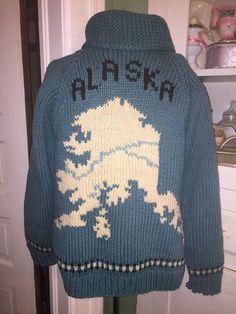 Vintage Hand-Knit Heavy ALASKA Wool METAL ZIP CARDIGAN SWEATER COAT    eBay