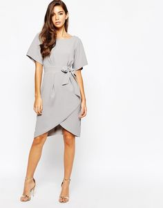 Closet Tie Front Dress With Kimono Sleeve, from asos.com - http://themerrybride.org/2015/09/05/wedding-guest-dress-ideas-from-asos-com/