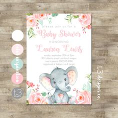 Elephant Baby Shower Invitation Baby Elephant Mommy to Be Shower