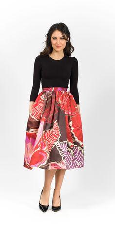 Modest Exotic Blooms Midi Skirt