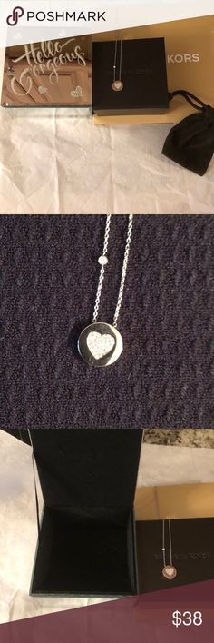 """Michael Kors silver necklace PLUS BONUS Michael Kors 18"""" silver rhinestone heart necklace. BONUS hello beautiful Pierrot jewelry box with black velvet inside. Also comes with michaels Kors box and suede bag and another gift for all. Michael Kors Jewelry Necklaces"""