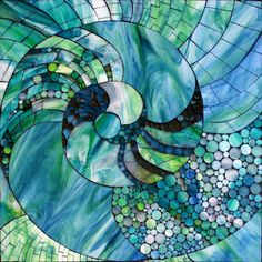 """Nautic Spiral , stained glass mosaic, 18"""" x 18"""", 2013 ~SOLD Here is a shot of me figuring out my color palette alongside of the sketch..."""