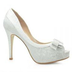 Sapato de Noiva Peep Toe Laura Porto Branco Prata - MH041