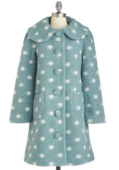 Day at the Ballet Coat. Your elegant ensemble rivals the enchantment of the stage when this polka-dotted coat is the star! #blue #modcloth