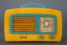 Yellow and Blue Bakelite Radio
