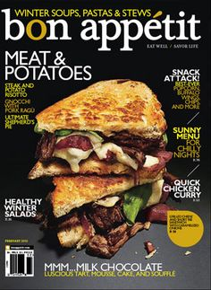 This magazine cover has a simple overall design where the food is the star of the cover and topics are set off to the side with their corresponding page numbers.