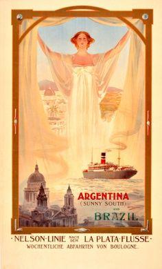 Argentina Brazil Art Nouveau Nelson Cruise Ship Line, early 1900s - original vintage poster by Odin Rosenvinge listed on AntikBar.co.uk