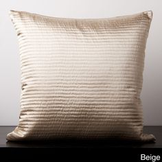 Sqaure Ribbed Feather or Poly Filled Decorative Throw Pillow (Beige- Down Filled-(22x22)), Brown, Size 22 x 22 (Polyester, Textured)