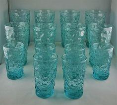 14 Seneca Driftwood Crinkle Glass - Corn Blue/Turquoise - 8 Iced Tea, 6 Juice #Seneca