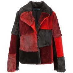 Jocelyn patchwork jacket (20.000.610 IDR) ❤ liked on Polyvore featuring outerwear, jackets, red, coats, coats & jackets, patchwork jacket and red jacket