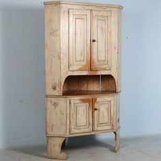 Large Antique Swedish White Corner Cabinet with Original Paint White Corner Cabinet, Corner Hutch, Eggshell White Paint, White Paints, Antique Furniture For Sale, Painted Cupboards, Wood And Metal, Painted Furniture, Shabby Chic