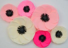 6 Giant Paper Flowers/Large Paper Poppies/Wedding by LandofFlowers