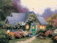 Giclee Print-painted oil Painting on canvas wall decoration Thomas Kinkade Weathervane Hutch ( NO FRAME)