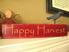 free primitive images to paint on wood | Happy Harvest Primitive Wood Shelf Sitter by SaltboxHouseSigns