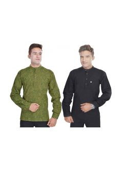 Kalrav Fashion Balck and Printed Green Cotton Kurta Combo