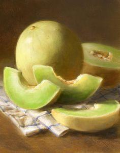 An original painting of honeydew melons by Robert Papp