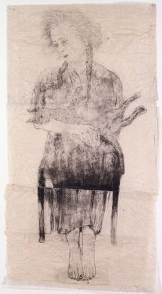 Kiki Smith, Pieta, 1999. Printer's ink, ink and graphite on joined paper, 55 1/4 × 30 5/16 in.